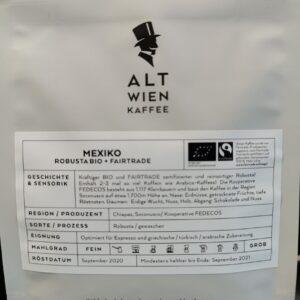 Alt Wien - Mexiko II Robusta - ganze Bohne - 250g