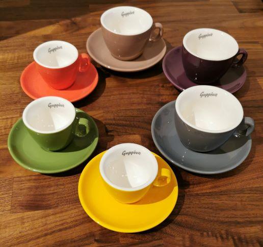 Goppion-Tasse-SET-6 Farben-double Espresso-inkl. Untertassse